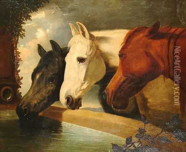 At The Trough. Oil Painting - John Frederick Herring Snr
