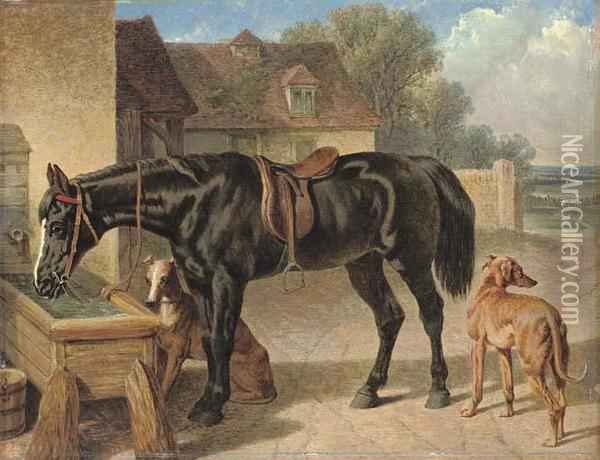 A Farmer's Hack And Greyhounds Oil Painting - John Frederick Herring Snr