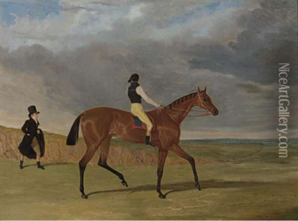 Winner Of The 1827 Great St. Leger, With James Robinson Up And Trainer Jonathan Scott Oil Painting - John Frederick Herring Snr