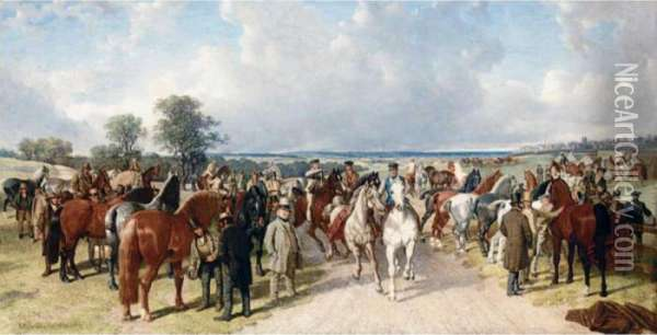The Horse Fair On Southborough Common Oil Painting - John Frederick Herring Snr