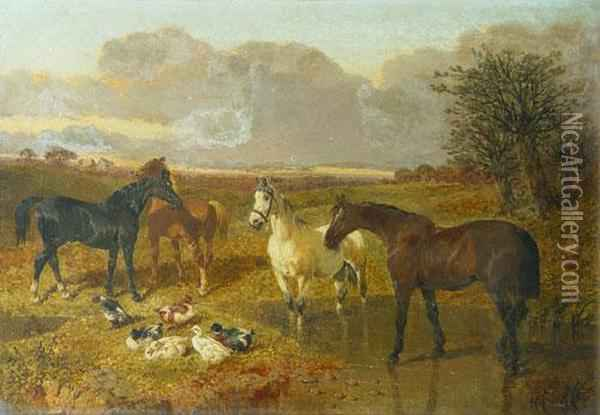 Horses In The Farm Oil Painting - John Frederick Herring Snr
