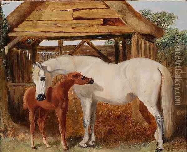 A Grey Mare With A Chestnut Foal Near A Barn Oil Painting - John Frederick Herring Snr