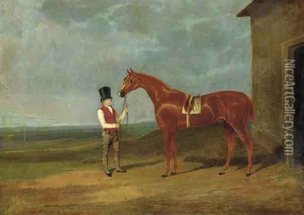 Mr. Dixon's Mountaineer, A Chestnut Colt, Held By A Groom Outside Astable Oil Painting - John Frederick Herring Snr