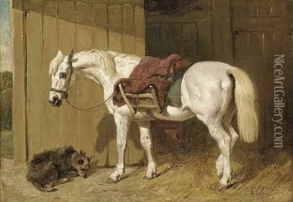 A Grey Pony With A Dog By A Stable Door Oil Painting - John Frederick Herring Snr