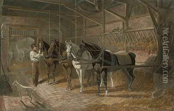 The Mail Change, From Fores's Stable Scenes Oil Painting - John Frederick Herring Snr