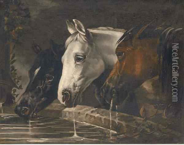 Three Horses At A Water Trough Oil Painting - John Frederick Herring Snr
