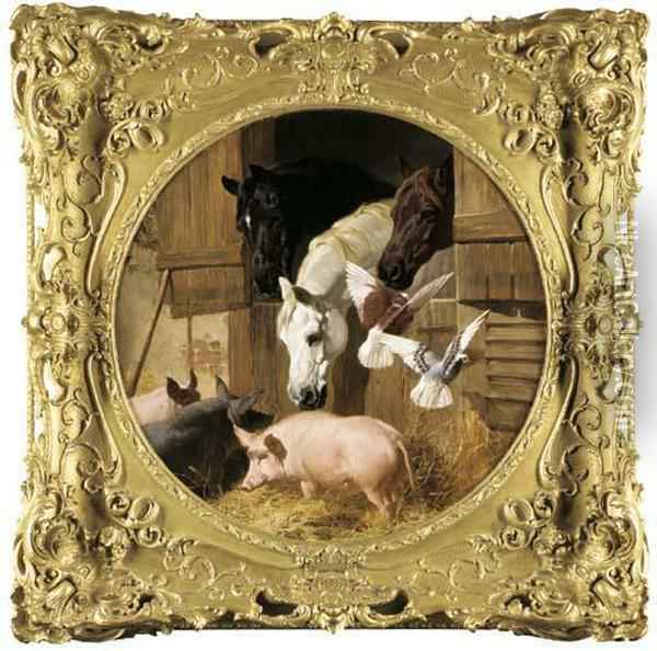 Three Horses At A Stable Door With Pigs And Doves Oil Painting - John Frederick Herring Snr