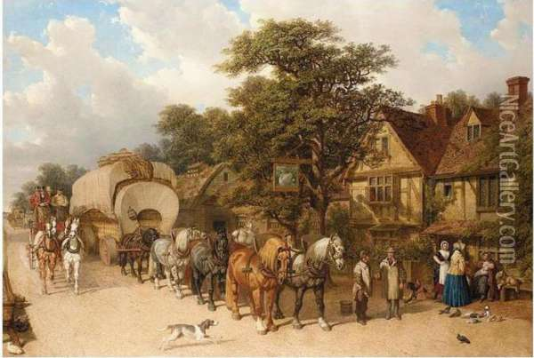 Coaching Scene Outside The Philpots Inn, Meopham Oil Painting - John Frederick Herring Snr