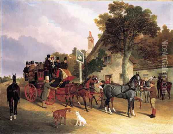The London-to-leeds Stage Coach Changing Horses At The Swan Inn,bottisham, Cambridge Oil Painting - John Frederick Herring Snr