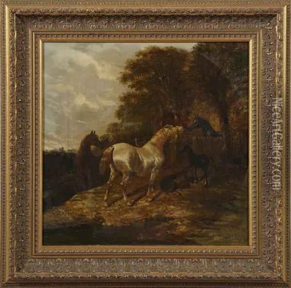 A Gray, Bay, Black Blaze And Two Foals At Fence Oil Painting - John Frederick Herring Snr