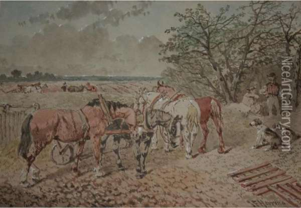 Farm Horses And Workers In A Field Oil Painting - John Frederick Herring Snr