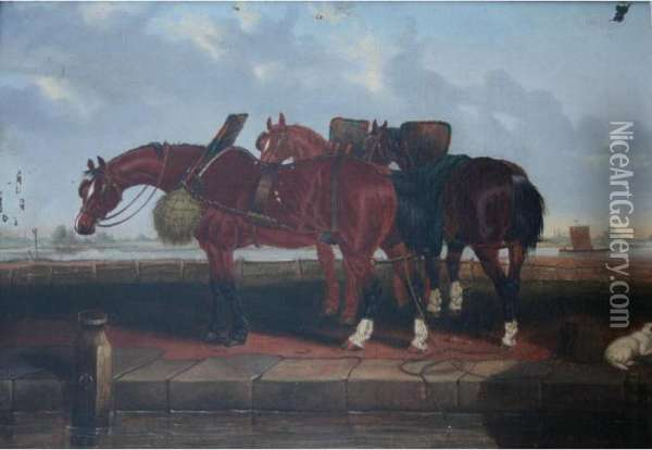 Three Barge Horses And A Dog By A Canal Oil Painting - John Frederick Herring Snr