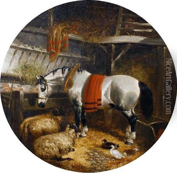 Horse, Sheep And Ducks In A Barn Oil Painting - John Frederick Herring Snr
