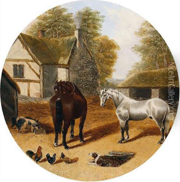 Horses In A Farmyard Oil Painting - John Frederick Herring Snr