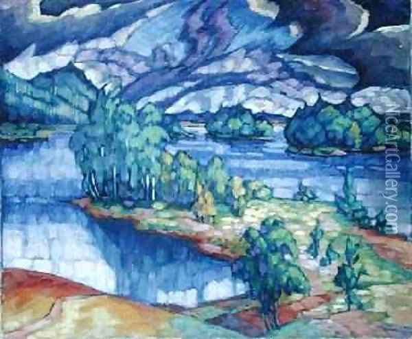 Lake Puhajarv 1918-21 Oil Painting - Konrad Magi