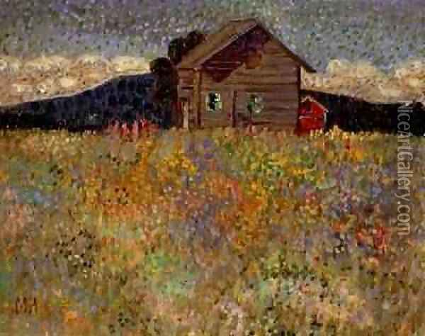 Small Wooden House in a Flowering Meadow 1909 Oil Painting - Konrad Magi