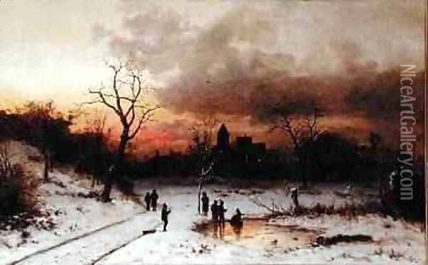 Skating at Sunset Sunset and Skaters 1883 Oil Painting - Ludwig Munthe