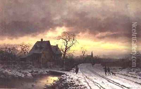 Winter Landscape at Sunset Oil Painting - Ludwig Munthe