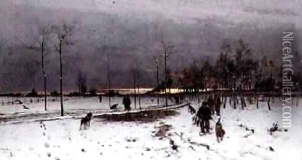 Hunters with their dogs in a Winter Landscape at Sunset 1873 Oil Painting - Ludwig Munthe