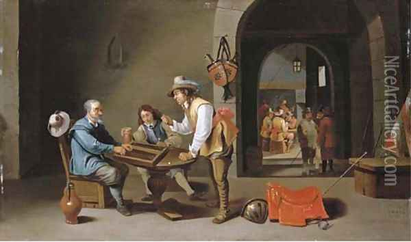 Officers and peasants playing backgammon and other games in a guardroom Oil Painting - Cornelis Mahu