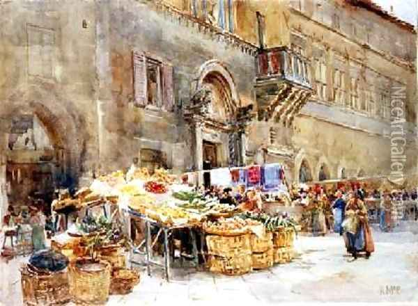 Before the house of the Captain of the People Perugia 1906 Oil Painting - Katharine McCracken