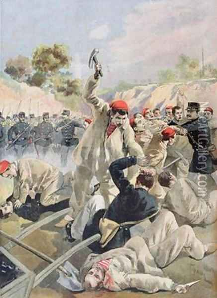 A Revolt of French Anarchists in Guyana illustration from Le Petit Journal 16th December 1894 Oil Painting - Tofani, Oswaldo Meaulle, F.L. &