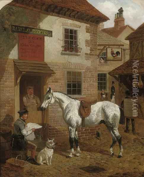 Figures And A Grey Stallion Before The Cock Inn Oil Painting - John Frederick Herring Snr