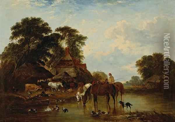 Cattle And Pigs In A Farmyard With Threehorses Watering In The Foreground Oil Painting - John Frederick Herring Snr