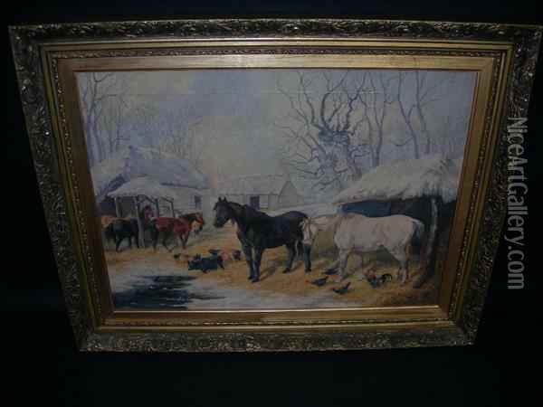Junior Farmyard With Horses, Pigs And Poultry In The Snow Oil Painting - John Frederick Herring Snr