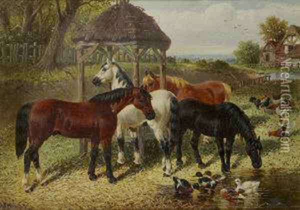 Horses Feeding And Drinking With Ducks And Chickens Oil Painting - John Frederick Herring Snr