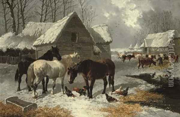 The First Fall Of Snow Oil Painting - John Frederick Herring Snr