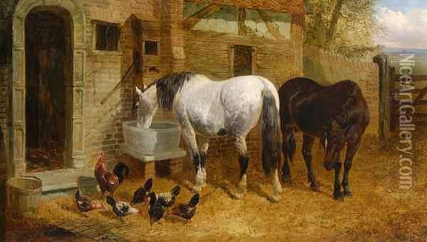 Horses And Chickens Before A Stable Oil Painting - John Frederick Herring Snr