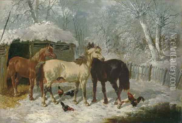 Horses And Chickens In The Snow Oil Painting - John Frederick Herring Snr
