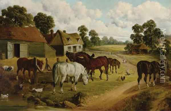 Horses And Fowl In A Farmyard Oil Painting - John Frederick Herring Snr