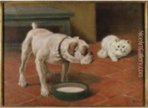 The Old And The Young Oil Painting - Arthur Heyer