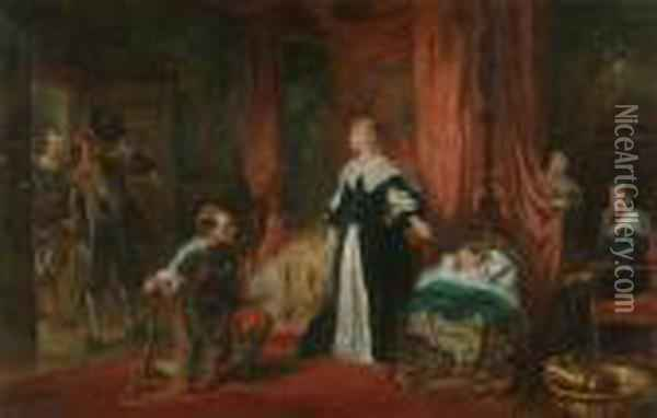 'news Of The King's Death -  Brought To Queen Henrietta Maria In Paris. Princess Henrietta Is Asleep  Whilst The New King Charles Ii Hides Behind The Curtain' Oil Painting - Robert Alexander Hillingford