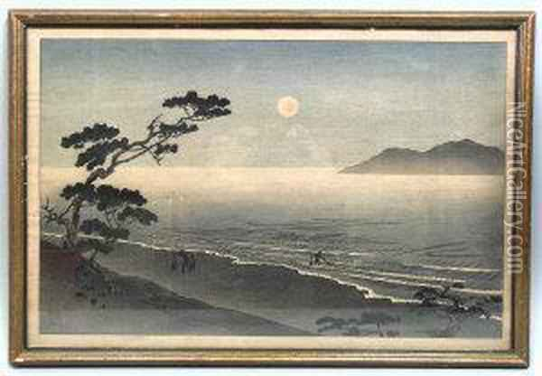 Figures On A Beach At Sunset Oil Painting - Utagawa or Ando Hiroshige