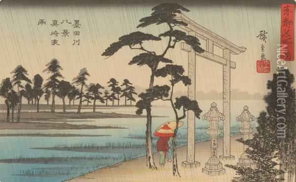 Temple Landscape With Travelers In The Rain Oil Painting - Utagawa or Ando Hiroshige
