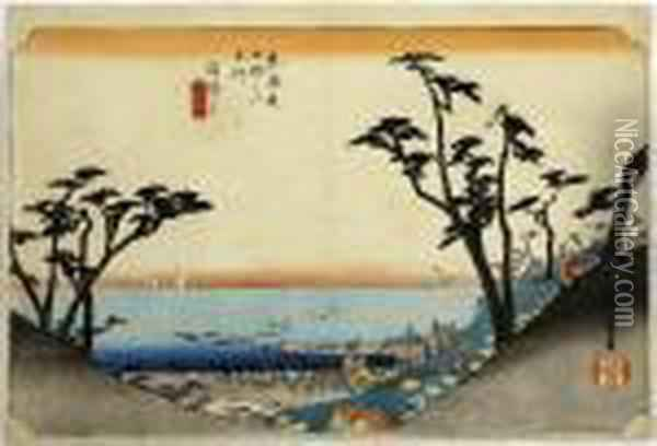 Shirasuka, From The Series Tokaido Gojusan Tsugi Oil Painting - Utagawa or Ando Hiroshige