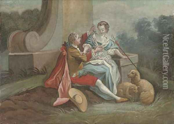 A gentleman courting a shepherdess in a landscape Oil Painting - Philippe Mercier