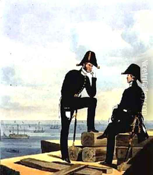 Mates plate 12 from Costume of the Royal Navy and Marines Oil Painting - L. and Eschauzier, St. Mansion