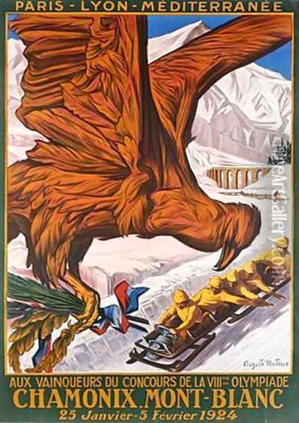 Poster advertising the winter olympics at Chamonix Mont-Blanc January-Febrary 1924 Oil Painting - Matisse, Auguste Philippe