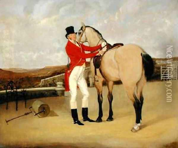 James Taylor Wray of the Bedale Hunt with his Dun Hunter Oil Painting - Anson A. Martin
