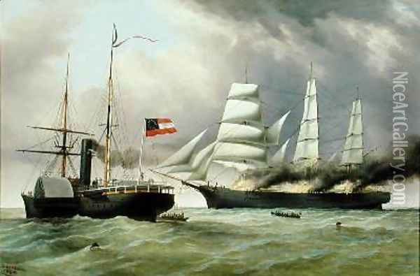 C.S.S. Nashville capturing and burning the English Merchantman Harvey Birch 1864 Oil Painting - Duncan Mcfarlane