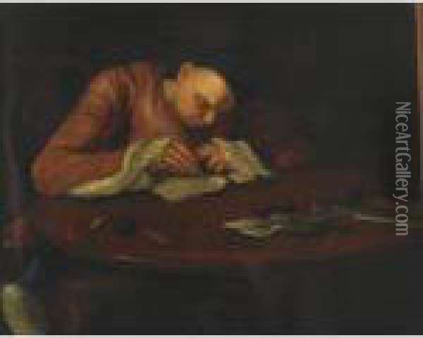 Oliver Goldsmith (at His Writing Table) Oil Painting - William Hogarth