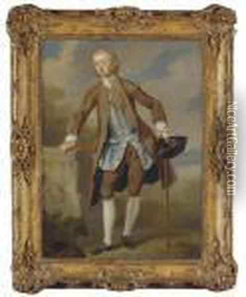 Portrait Of Gustavus Hamilton,  2nd Viscount Boyne (1710-1746), Small Full-length, In A Brown Coat And  Breeches With A Blue Silk Waistcoat, A Tricorn Hat And A Walking Stick  In His Left Hand, In A Landscape Oil Painting - William Hogarth