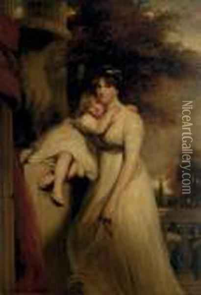 Portrait Of Lady Mildmay,  Standing Three-quarter-length, In A White Dress, With Her Child, A  Landscape Beyond Oil Painting - John Hoppner