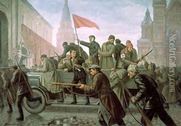 The Taking of the Moscow Kremlin in 1917 1938 Oil Painting - Konstantin Ivanovich Maximov