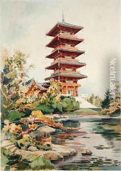 Japanese Tower in the Royal Park at Laeken Belgium 3 Oil Painting - Marcel, Alexandre Auguste Louis