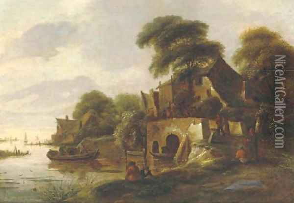A river landscape with peasants gathered on a bridge in a village, a lake with sailing vessels beyond Oil Painting - Claes Molenaar (see Molenaer)